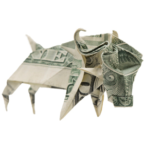 Origami bull made of dollar bill